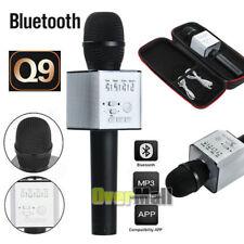 Q9 Wireless Karaoke Microphone Portable Bluetooth KTV Mic Speaker USB Player BLK