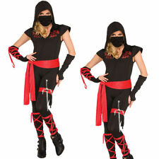Adult Ladies Ninja Girl Costume Chinese Martial Arts Fighter Fancy Dress Outfit