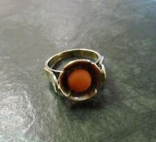 Antiker Goldring mit runder Koralle 333er Gold Ring 8 Karat GG Gelbgold Gr. 55