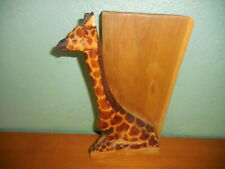 Giraffe Book Ends Wooden Hand Carved Safari Zoo Home Decor Solid Wood