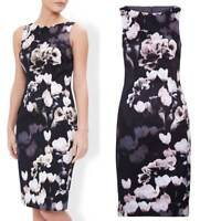 Monsoon stunning Alberta black floral occasion dress wedding races size UK 8-18