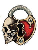 A LOVE STRONGER THAN DEATH SKULL RED PADLOCK VINYL STICKER/DECAL  by AGORABLES