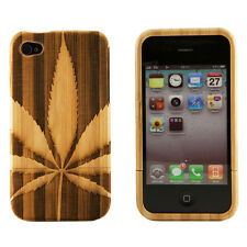 iPhone 4 4S Genuine Bamboo Engraved Marijuana Pot Leaf Natural Wood Case Cover