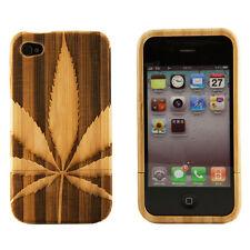 iPhone 4 4S Genuine Bamboo Engraved Marijuana Pot Leaf Natural Wood Case Cover