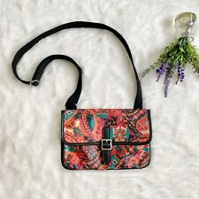 Fossil Tropical Floral Coated Canvas Crossbody Bag Pink Multicolor Slim Hipster
