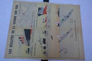 Affiche 1914-1918  LES REALITES DE LA GUERRE SUR MER  signée L . HAFFNER 1918