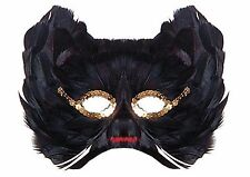 Black Cat Feather Mask for Fancy Dress Carnival Parties Ball Masquerade