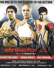 Luke Rockhold Gilbert Melendez Signed 4x5 StrikeForce PSA/DNA UFC w Ronda Rousey