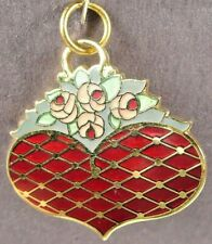 2002 Heart Basket Bouquet Decorative Arts Collection Commemorative Charm Red Gld