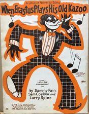 Vintage Jazz~1927 Black Americana Sheet Music~When Erastus Plays His Old Kazoo