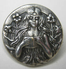 Reading Book Flowing Hair Flowers Antique Silver Pin Art Nouveau Girl