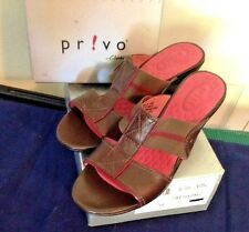 "Clarks Privo Brown Leather Sandals Size 9 M 2-3/4 "" Heel Elastic Ease 74208"