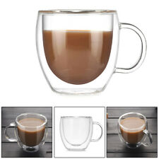 Heat Resistant Double Layer Milk Tea Glass Cup with Handle Coffee Mug Cups Gifts