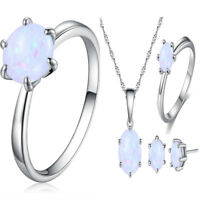 Opal Necklace Ring Earring Jewelry Set Pendant Choker Engagement Wedding Women