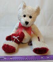 First & Main Cream Glitter Plush Teddy Bear Stuffed Animal w/ Valentine Heart