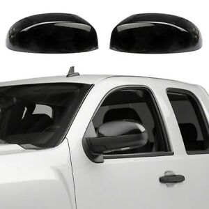 For 2007-2013 Chevy Silverado / GMC Sierra GLOSS BLACK Top Mirror Covers Overlay