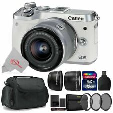 Canon EOS M6 Mirrorless Digital Camera White with 15-45mm + Top Accessory Kit