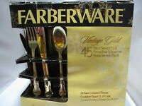 NEW Farberware Vintage Gold 24 Karat Goldplated 45 piece flatware service for 8