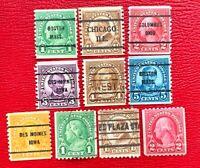 1923-29 US #597-599 & #600-606  Coil 10 out of 12 Precancel Set