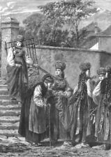 SWITZERLAND. Costumes in Fribourg c1885 old antique vintage print picture
