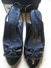 CHANEL, BEAUTIFUL MADE IN ITALY PATENT BLACK LACE UP FRONT SHOES SIZE 38.5 EUR
