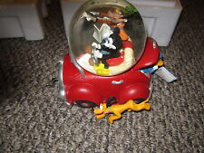 "Disney snowglobe mickey donald goofy in car with ""running pluto"" with box insert"