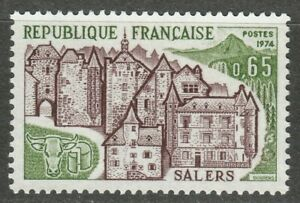 France 1974 MNH Mi 1881 View of Salers ** Tourist Issue.Cattle. Cows, Bulls **