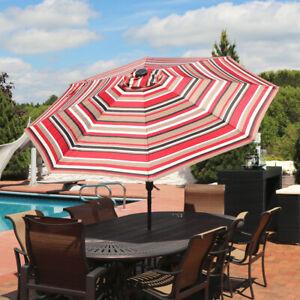 Sunnydaze 9' Outdoor Aluminum Solar LED Lighted Umbrella w/ Tilt - Awning Stripe