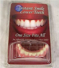 PERFECT SMILE BOTTOM TEETH fake dentures veneers new instant smile pearly whites