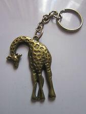 Key chain ring antique bronze giraffe pendant charm gift  accessory 9 cm