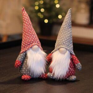 Set Of Two Nordic Small Fabric Christmas Santa  Gnomes Gonks 20cm