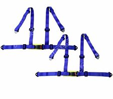 PAIR BLUE 3 4 POINT RACING SEAT BELT HARNESS FOR CAR/TRACK DAY/OFF ROAD BUGGY