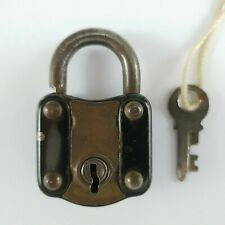 More details for vintage metal & brass padlock and key  - made in england -