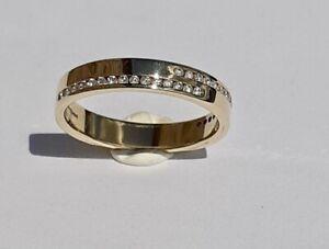 18ct Gold Diamond Wedding Band / Eternity Ring Yellow Gold Size K 1/2