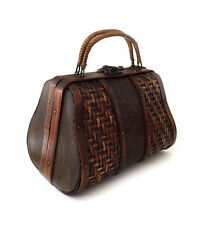 Woven Wood and Bamboo Purse with Woven Rattan and Faux Reptile Insert