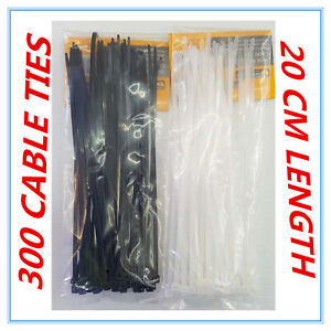 300 X BLACK & WHITE HEAVY DUTY CABLE TIES - 20 CM - HOME GARDEN OFFICE - AP