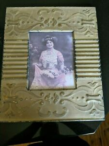 Large Vintage Metal Tin Ceiling Tile Photo Picture Frame Salvage Tile Victorian