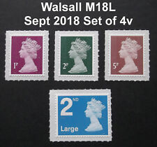 NEW SEPT 2018 WALSALL M18L Set of 4v Machin SINGLE STAMPS from Counter Sheets