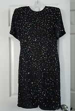 Vintage Lawrence Kazar Black Beaded New York  Dress size M made in India