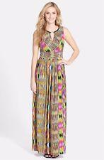 DONNA RICCO Sleeveless Keyhole Neck Jersey Maxi Dress, Ikat Print Multi, Size 6
