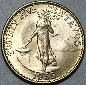 1958 Philippines 25 Centavos Choice BU US Design Coin (21091702R)
