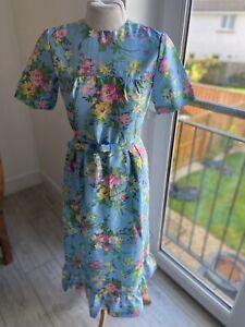 VINTAGE 50's BLUE FLORAL SILKY TEA DRESS UK 8 SMALL