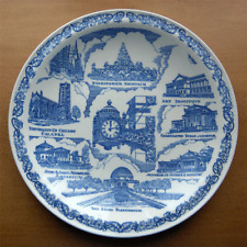 Vernon Kilns collector plt~Chicago Illinois~made for Marshall Fields~Ultra Blue