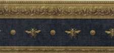 Architectural Napolonic Bee Wallpaper Border in Charcoal LL081116B