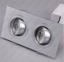 2W Square Dual-Head LED Ceiling Spot Lamp Recessed Grille Light Fixture Corridor