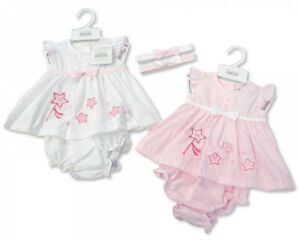 New Baby Girls Stars Sun Dress Pants & Bow Headband Set 3 Piece Baby Clothes