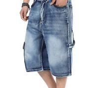 2019 Mens Loose Pants Denim Cargo Short Denim Hip Hop Baggy Shorts Jean 30-46 UK