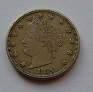 1884 US Liberty Head 5 cents USA Nickel Coin High Grade
