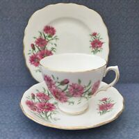 ROYAL VALE TRIO SET CUP SAUCER PLATE PINK FLORAL c1960s GILDED BONE CHINA