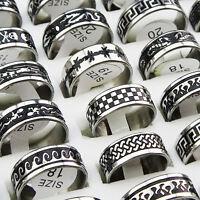 10pcs-50pcs Mix Black Enamel Stainless Steel Fashion Mens Rings Wholesale Lots